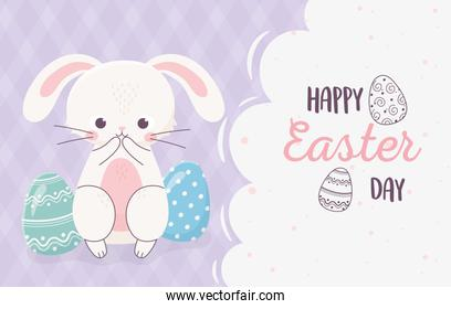 happy easter curious rabbit with eggs greeting card