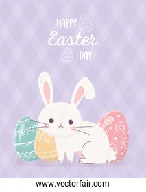 happy easter little rabbit with eggs traditional celebration