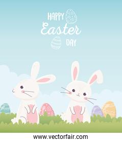 happy easter cute bunnies with eggs invitation card
