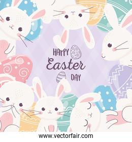 happy easter day lovely rabbits with cute eggs poster