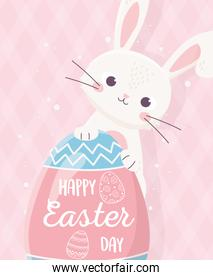 happy easter cute rabbit with egg lettering on pink background