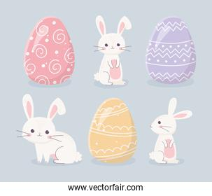 happy easter day rabbits and eggs celebration icons