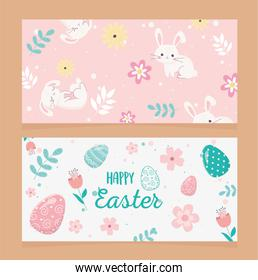 happy easter day greeting eggs rabbit decoration