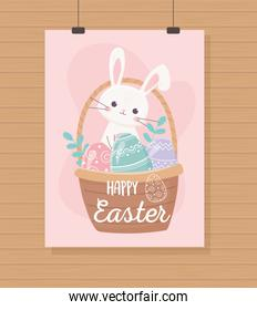 happy easter hanging cute rabbit basket with eggs