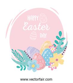 happy easter day decorative eggs flowers floral decoration
