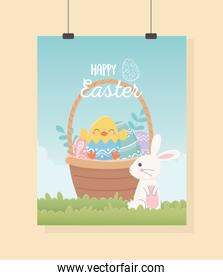 happy easter cute rabbit with basket filled eggs
