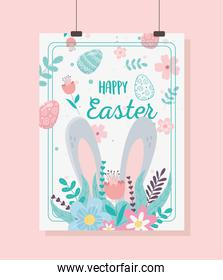 happy easter card big ears flowers floral decoration