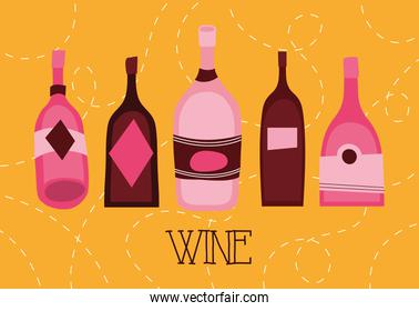 wine premium quality poster with bottles