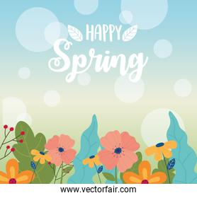 happy spring flowers foliage nature decoration blurred background