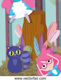 cute girl and cat with striped tail forest cartoon, children character