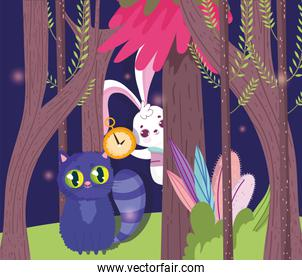 cute rabbit and cat in the forest cartoon, children character