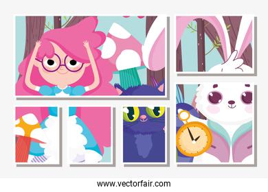 cute girl and cat rabbit clock cartoon, children character cards