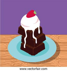 sweet Brownie with ice cream poster icons