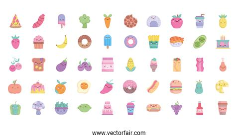 food cute cartoon character menu restaurant diet icons set line and fill style