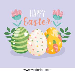 happy easter painting eggs decoration flowers floral