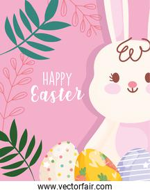 happy easter cute white rabbit with decorative eggs foliage