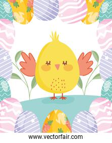 happy easter cute chicken with eggs border decoration flowers