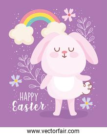 happy easter cute pink rabbit rainbow clouds flowers decoration card