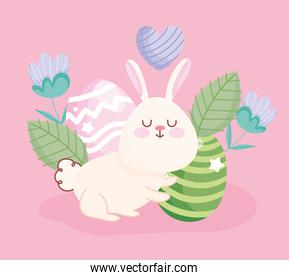 happy easter cute rabbit eggs flowers leaves floral decoration