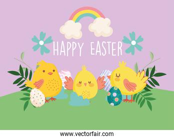 happy easter little chickens eggs flowers in grass rainbow