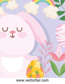 happy easter cute rabbit with egg painting carrots flowers leaves cartoon
