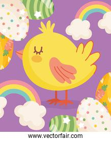 happy easter cute chicken eggs rainbow clouds card