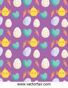 happy easter chickens eggs hearts carrots decoration background