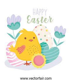 happy easter cute chicken heart egg flowers decoration card