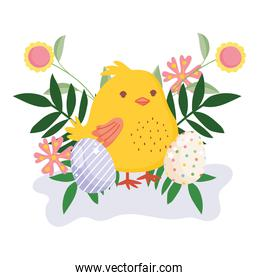 happy easter cute chicken decorative eggs flowers leaves nature