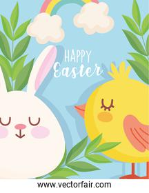 happy easter cute rabbit chicken rainbow leaves card
