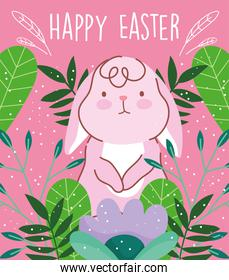 happy easter card cute rabbit foliage nature leaves
