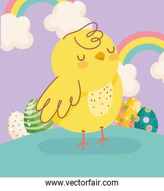happy easter little chicken rainbows eggs clouds decoration