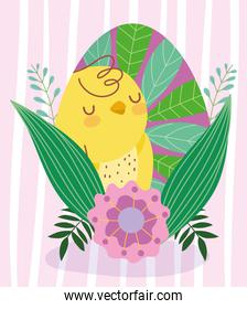 happy easter cute chicken painting egg with leaves nature