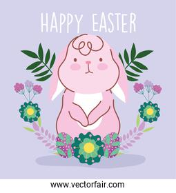 happy easter pink rabbit flowers foliage decoration