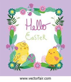 happy easter cute chickens eggs flowers frame decoration card