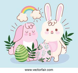 happy easter pink and white bunnies eggs foliage decoration