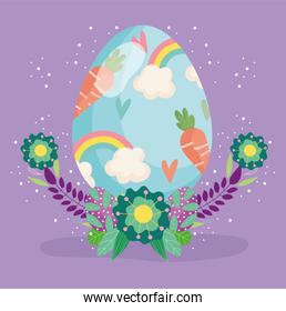 happy easter egg decorated with carrots flowers decoration
