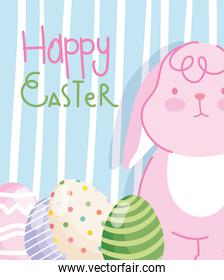 happy easter pink rabbit with eggs striped background