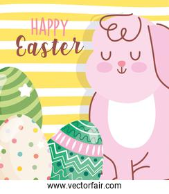 happy easter cute rabbit and decorative eggs yellow stripes background