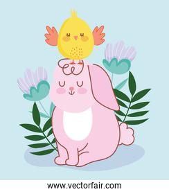 happy easter pink rabbit sitting with chicken in head flowers decoration