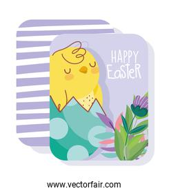 happy easter card chicken on eggshell flowers leaves