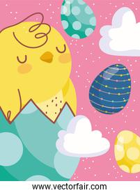 happy easter card chicken on eggshell eggs clouds decoration
