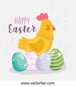 happy easter cute hen and eggs decoration celebration