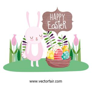 happy easter cute rabbit with basket filled eggs decoration flowers