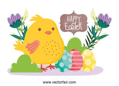 happy easter cute chicken decorative eggs flowers banner