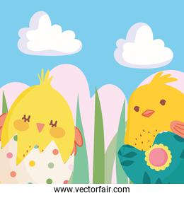 happy easter little chickens in eggshells nature decoration