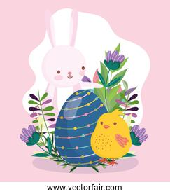 happy easter cute bunny and chicken with blue egg flowers nature
