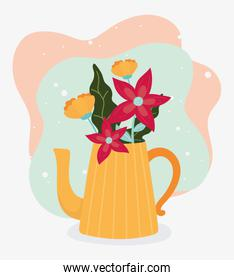 hello spring teapot with flowers decoration celebration