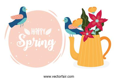 hello spring birds and teapot with flowers ornament