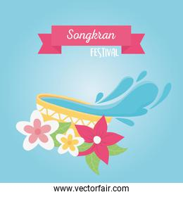 songkran festival bowl with water flowers celebration design card